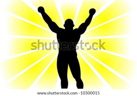 Silhouette of the strong winner.Vector. - stock vector