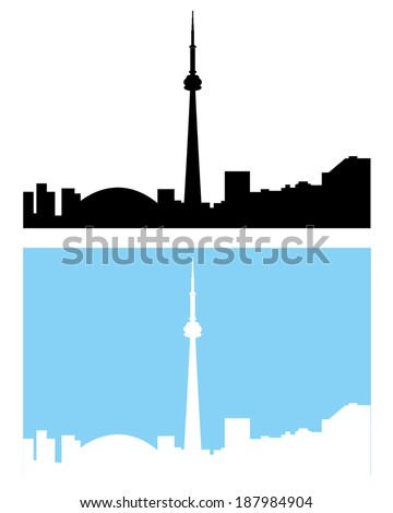 Silhouette of the Toronto Skyline - Vector - stock vector