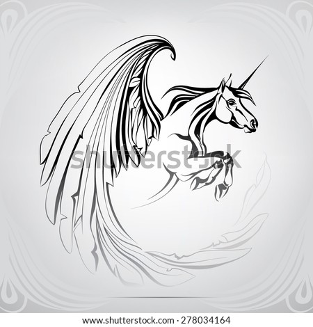 Silhouette of the winged unicorn - stock vector