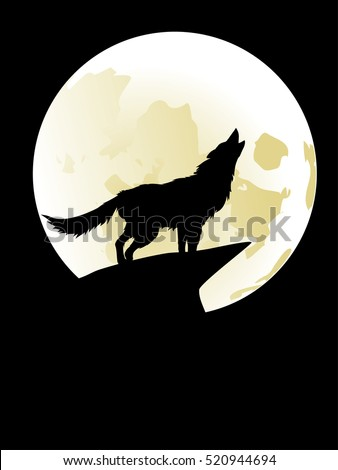 Silhouette of the wolf howling at the moon in the midnight.