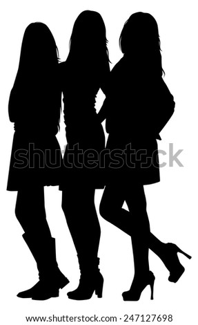 silhouette of three fashion girls on white background vector - stock vector