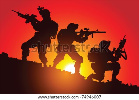 Silhouette of three soldiers on the battlefield