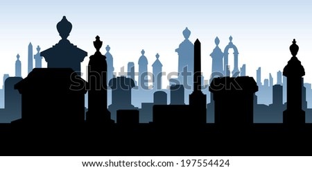 Silhouette of tombstones in a spooky graveyard. - stock vector