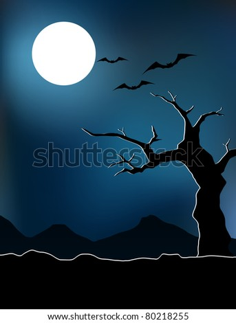 Silhouette of tree and hill on dark scary night. Background colors are in global color and can be easily edited. - stock vector