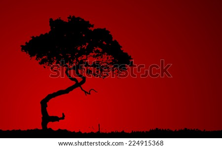Silhouette of tree over red background. Vector illustration - stock vector
