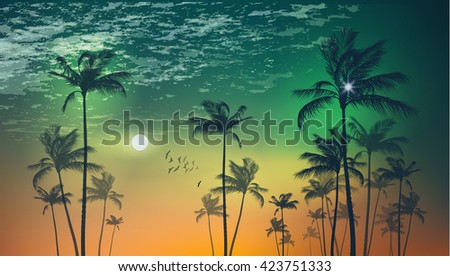 Silhouette of tropical palm trees  at sunset or moonlight, with cloudy sky . Highly detailed  and editable