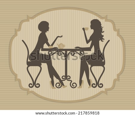 Silhouette of two beautiful girls talking in a cafe  - stock vector