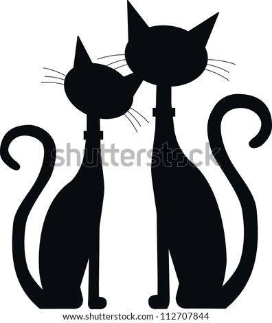 silhouette of two black cats - stock vector