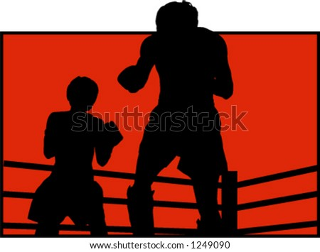 silhouette of two boxers - stock vector