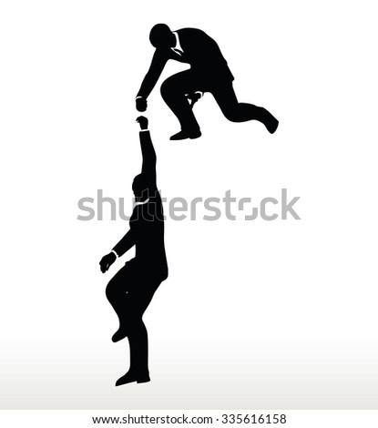 silhouette of two businessmen team holding on with a helping hand - stock vector