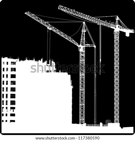 Silhouette of two cranes working on the building - stock vector