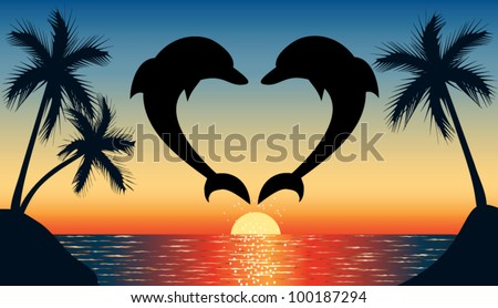Silhouette of two dolphins jumping out of water in the ocean shaped heart and silhouette of palm tree at sunset - stock vector
