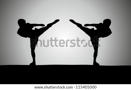 Silhouette of two fighters - stock vector