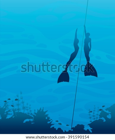 Silhouette of two freedivers in monofin and coral reef on a blue sea background. Underwater vector illustration.