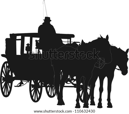 Silhouette of two horses and coach with coachman - stock vector