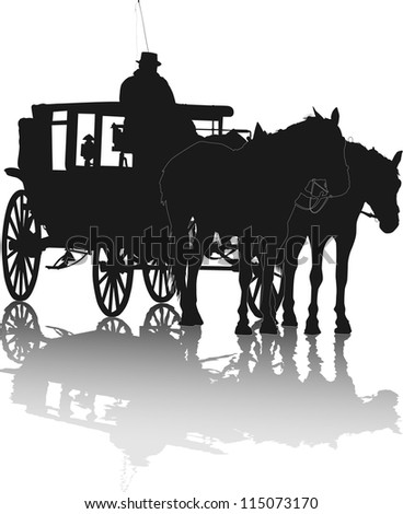 Silhouette of two horses and coach with coachman with reflection - stock vector