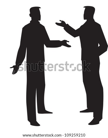 Silhouette of two men talking, black, vector illustration - stock vector