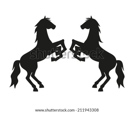 Silhouette of Two Rearing Horse  Face to Face  on White Background for logo or badge - stock vector