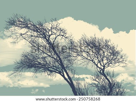 silhouette of two trees on cloudy sky background. detailed vector illustration - stock vector