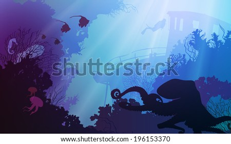 silhouette of underwater marine life and octopus in the foreground. Wreck and diver in the background. bright colors - stock vector