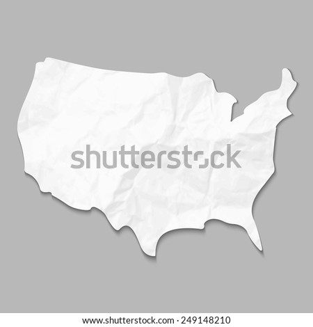 Silhouette of United States of America map, with crumpled paper texture, isolated on grey background. Vector illustration. Elements of this image furnished by NASA. - stock vector