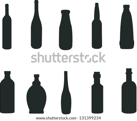 Silhouette of various style of bottles - stock vector