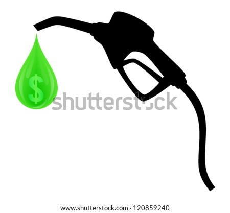 Silhouette of vector gas pump with green drop and symbol of dollar inside isolated on white background - stock vector