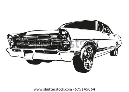 Front View Vector Silhouette Vintage American Stock Vector