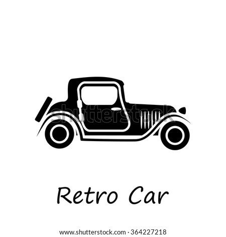 Silhouette of vintage car icon vector for web site - stock vector
