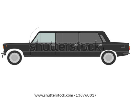 Silhouette of vintage stretch limo with three pairs of doors. Vector