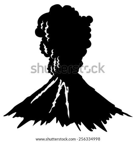 silhouette of volcano - stock vector