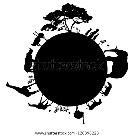 silhouette of wildlife animals in africa walking around the world vector