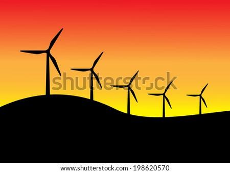 Silhouette of  wind turbines vector - stock vector