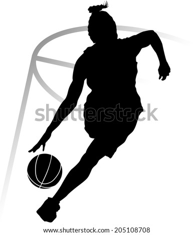 Silhouette of woman basketball player driving the lane.