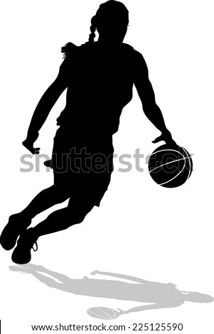 Silhouette of woman basketball player on a fast break with shadow. - stock vector