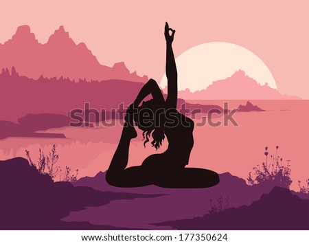 Silhouette of woman doing yoga in mountains - stock vector