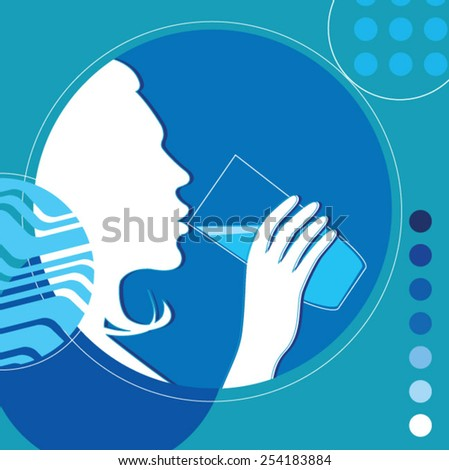 Silhouette of woman drinking milk - stock vector