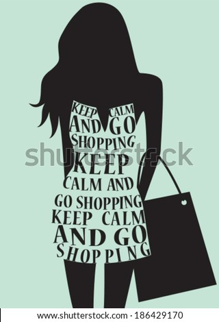 Silhouette of woman in dress from words. Vector - stock vector