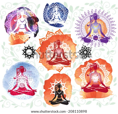 Silhouette of woman meditating in lotus position on round pattern - stock vector