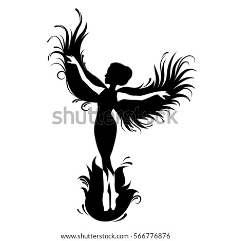 Silhouette Womanphoenix Bird Red Fenix Symbol Stock Vector 566776876