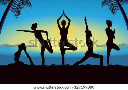 Silhouette of women group posing in yoga posture in seaside at the sunset time. This illustration design in blue theme.