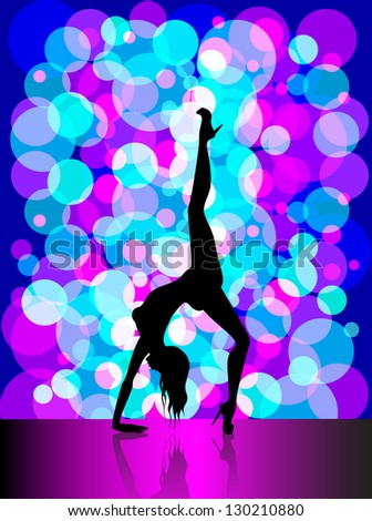 Silhouette of young beautiful woman dancing a striptease - stock vector