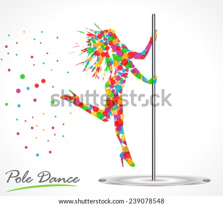 Silhouette of young beautiful woman dancing a striptease, pole dance - vector eps10 - stock vector
