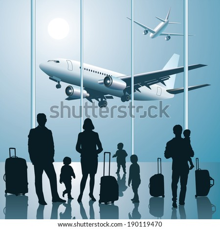 Silhouette of young family with luggage walking at airport - stock vector