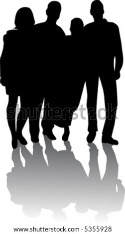 silhouette of young people - stock vector
