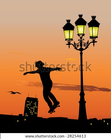 Silhouette of young skateboarder jumping in late evening. Vector illustration