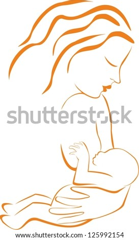 Silhouette of young woman breastfeeding her baby - stock vector