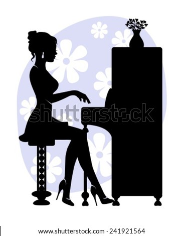 silhouette of young woman playing the piano on the background of stylized flowers - stock vector
