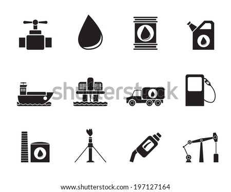 Silhouette oil and petrol industry objects icons - vector icon set - stock vector