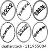 silhouette oval frames - stock vector
